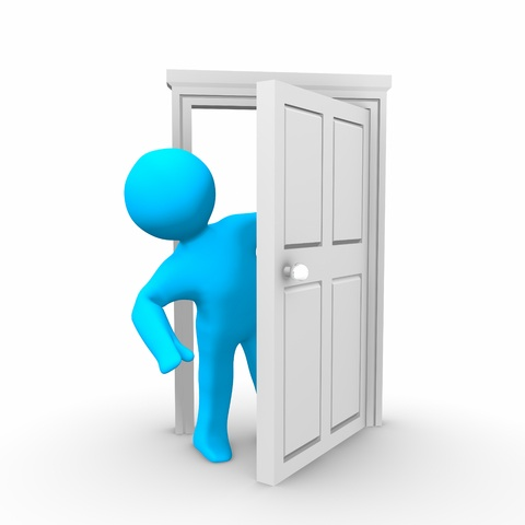 Blue person standing in half open doorframe