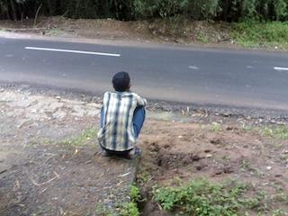 Staring at road